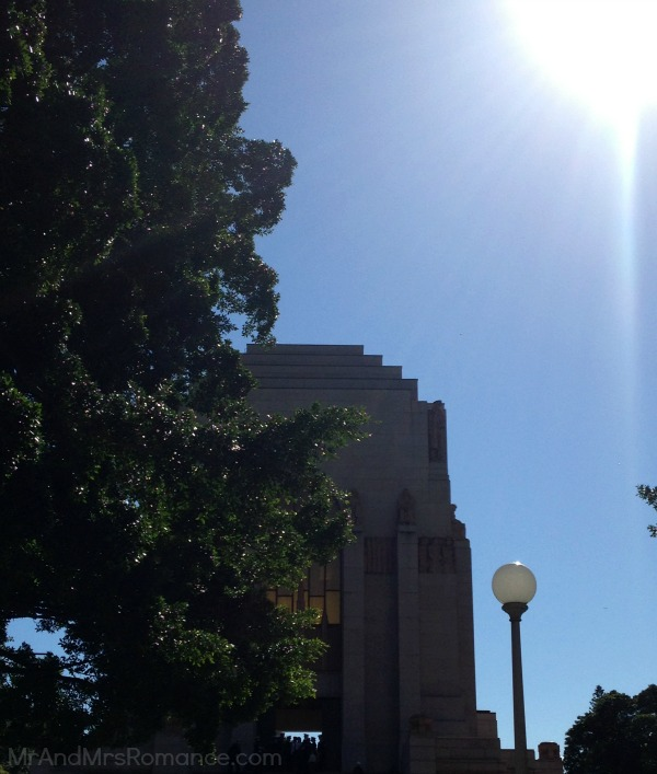 Mr and Mrs Romance - ANZAC Day - Sydney memorial in sunlight