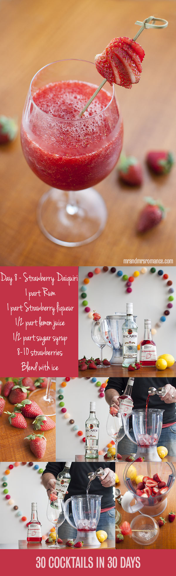 Mr and Mrs Romance - Day 8 - Strawberry Daiquiri Cocktail Recipe