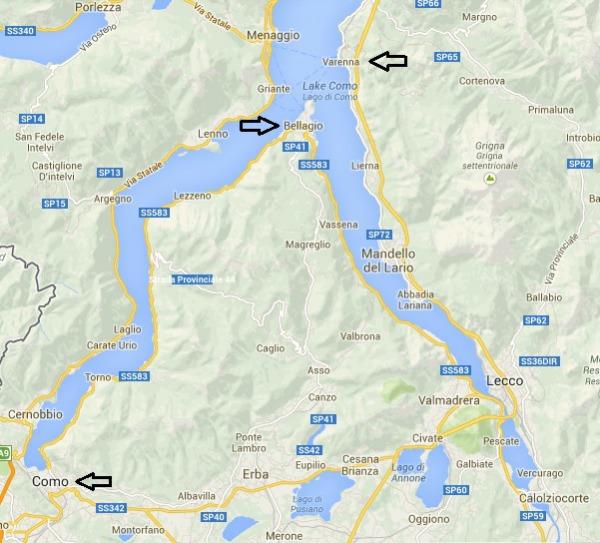 Mr & Mrs Romance - How to get to Como - Map of Lake Como