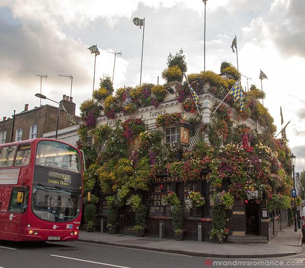 The Churchill Arms in bloom - Kensington Church Street London