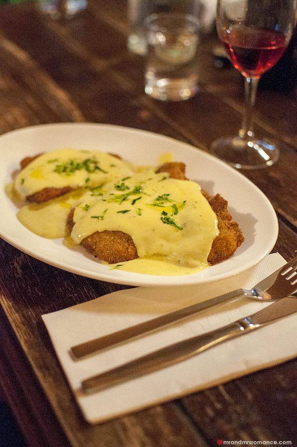 Mr and Mrs Romance - Fiorini's Restaurant - 6a veal schnitzel w bernaise sauce