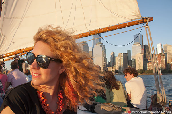 Mr and Mrs Romance - Mrs R sailing on the Hudson - NYC sailing