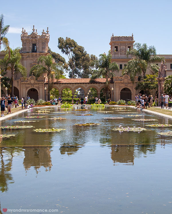 Mr and Mrs Romance - Spanish buildings in Balboa Park San Diego