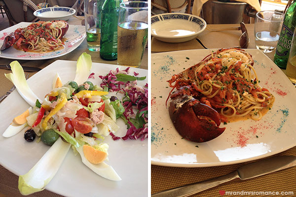 Mr and Mrs Romance - food at da Luigi restaurant Capri