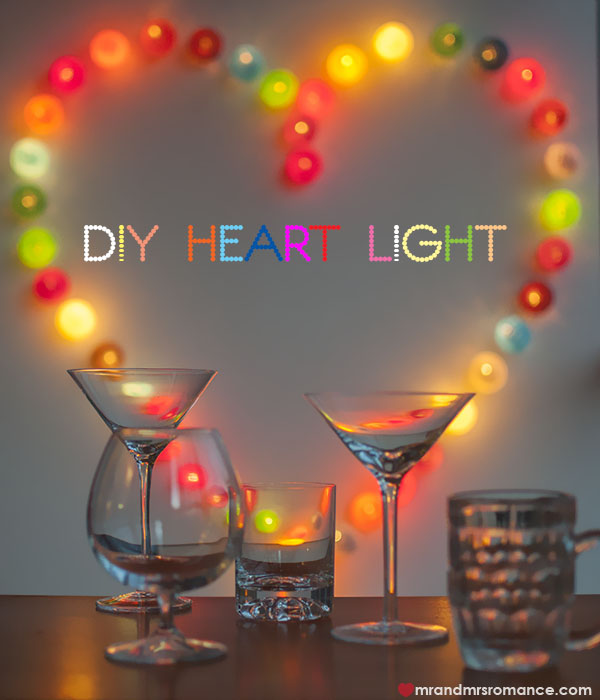 DIY heart lights - Mr and Mrs Romance