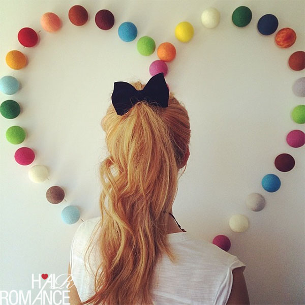 Hair Romance double ponytail with heart lights