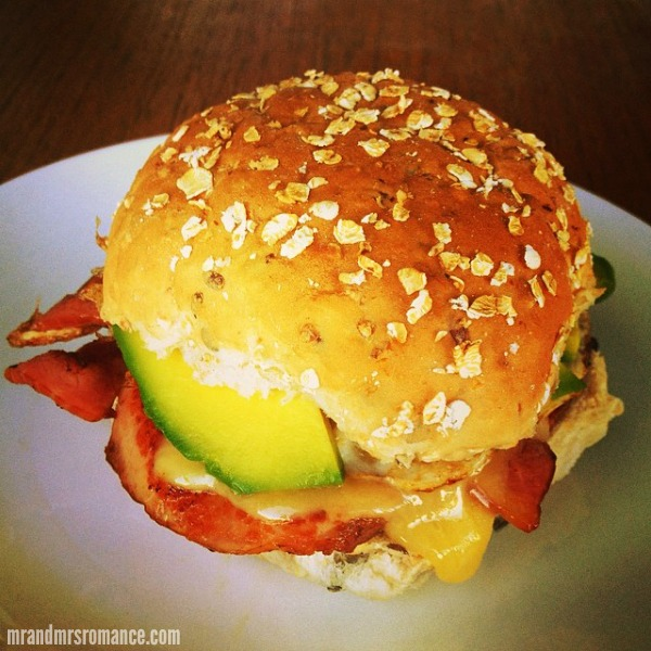 Mr & Mrs Romance - Insta Diary - 5 bacon, cheese, egg & avo butty