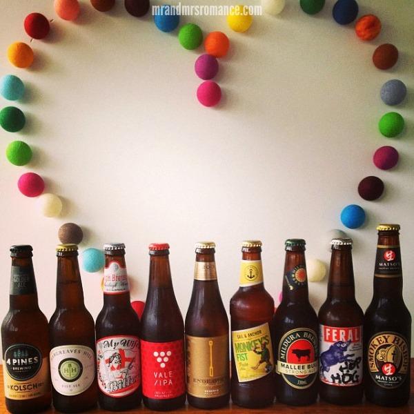 Mr & Mrs Romance - Insta Diary - 8 Aussie beer line-up