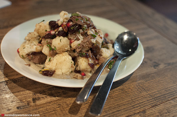 Mr and Mrs Romance - The Cottage Balmain review Cauliflower lamb