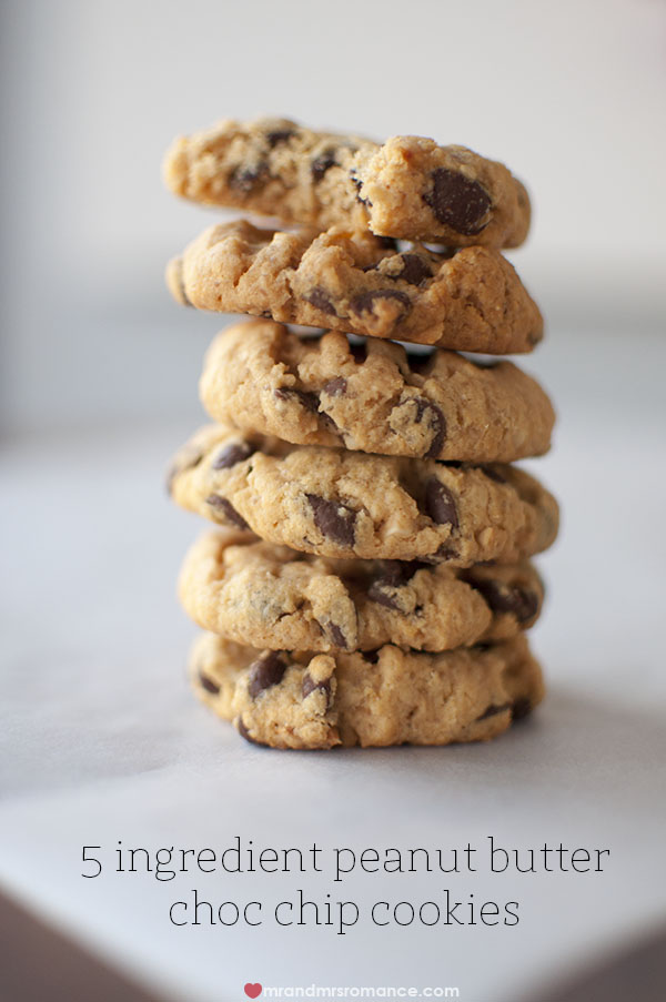Mr and Mrs Romance - 5 ingredient gluten free peanut butter choc chip cookie recipe