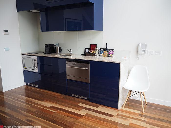 Mr & Mrs Romance - Spirit of Tasmania - Salamanca Wharf Hotel kitchen