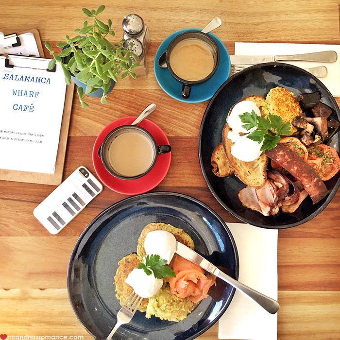 Mr & Mrs Romance - Spirit of Tasmania - breakfast Salamanca Wharf Cafe