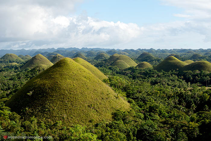 This image shows the Chocolate Hills in Bohol, Philippines.