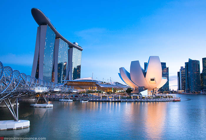 Mr and Mrs Romance - 9 places to escape winter when you haven't saved for a holiday - like Singapore.