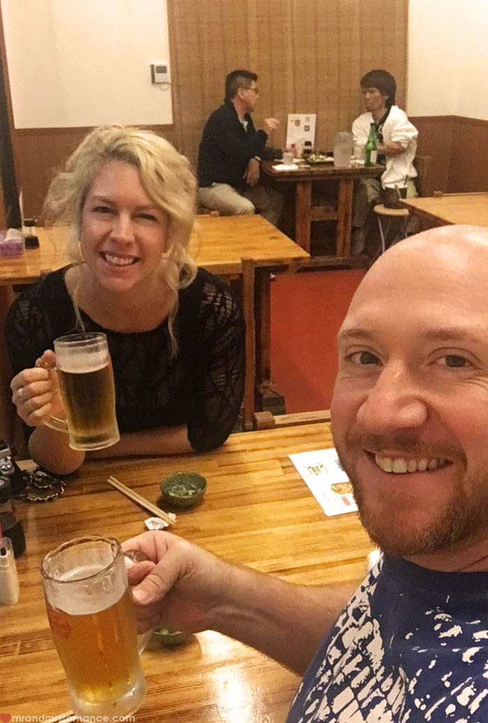 Mr and Mrs Romance - what to eat in Okinawa - orion beer