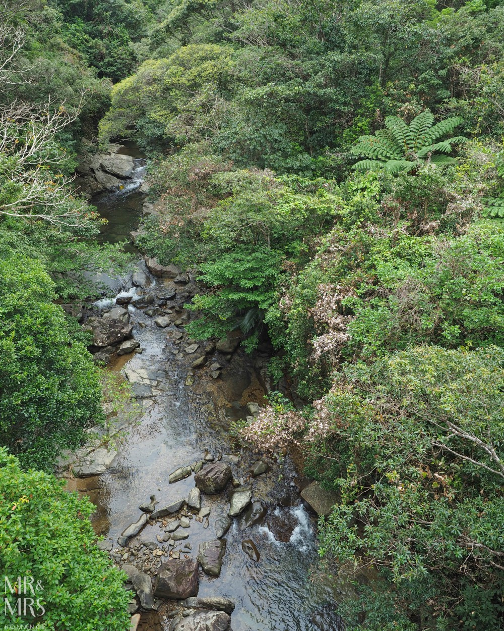 Power Spots, Okinawa, Japan - Mr & Mrs Romance - Hiji Waterfall river from above