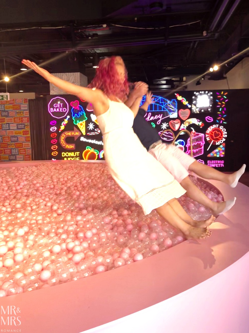 Sugar Republic, Myer Sydney - Jim & Christina ball pit fall