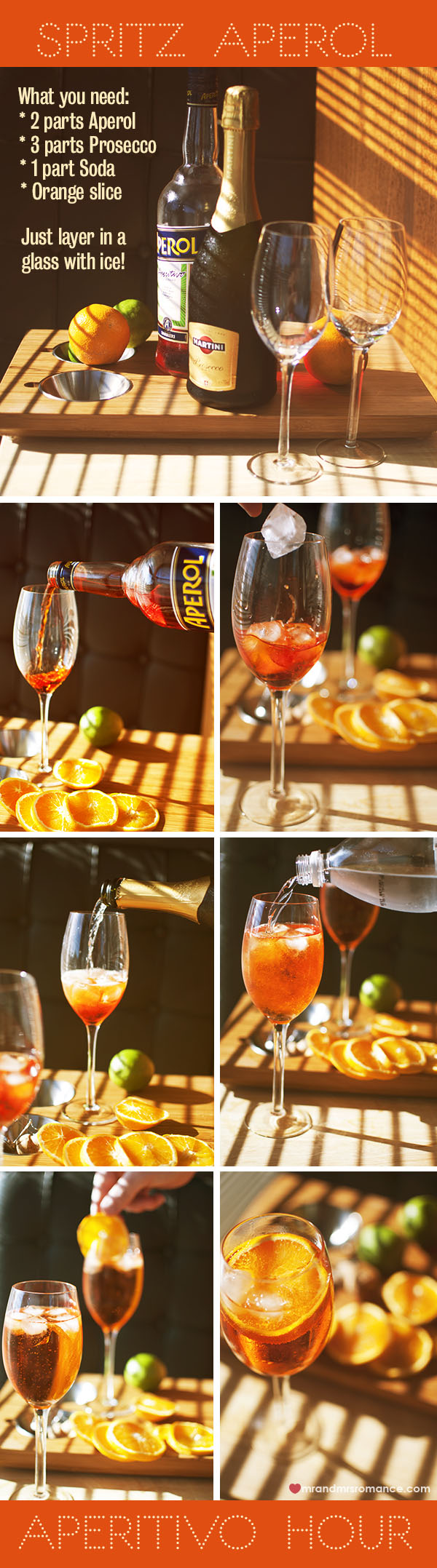 Mr and Mrs Romance - Aperitivo Hour - Spritz Aperol Recipe guide