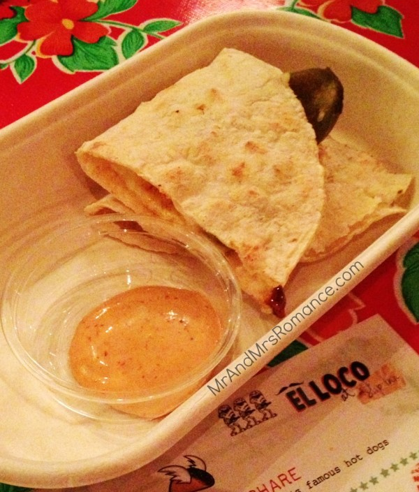 Mexican food sydney el loco merivale mr and mrs romance quesadilla