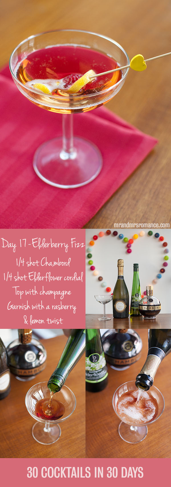 Mr and Mrs Romance - Day 17 - Elderberry Fizz Champagne Cocktail Recipe