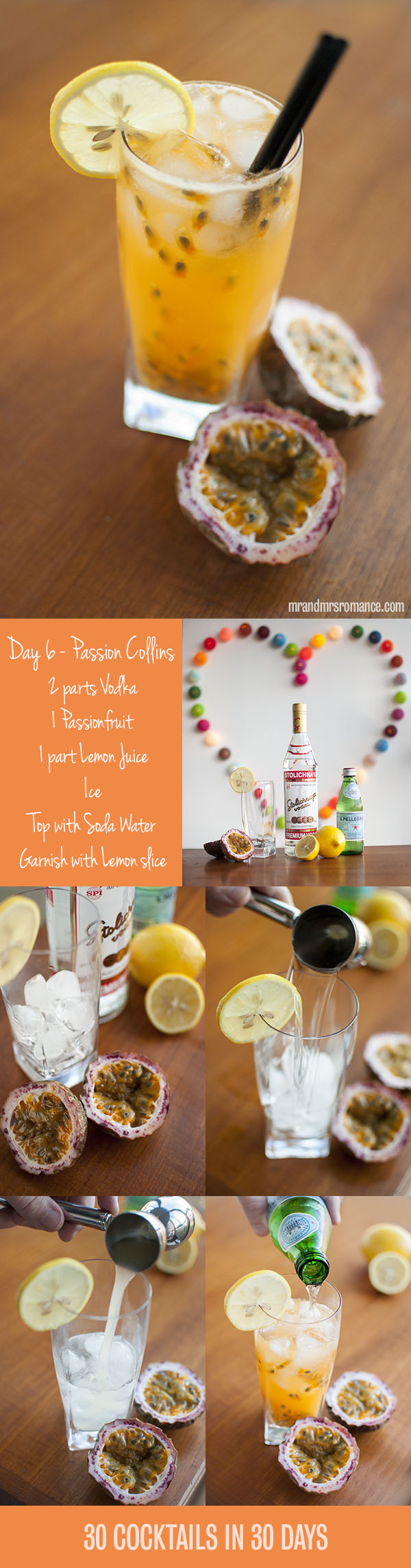 Mr and Mrs Romance - Day 6 - Passion Collins Cocktail Recipe