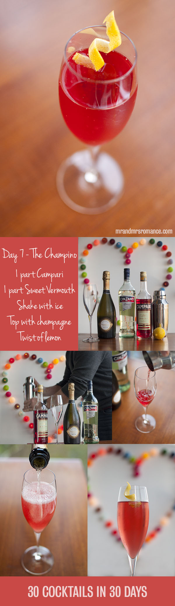 Mr and Mrs Romance - Day 7 - Champino champagne cocktail recipe