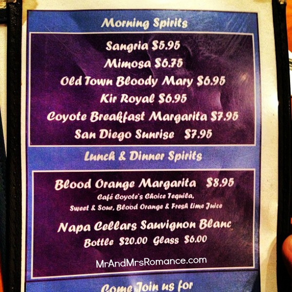 Mr and Mrs Romance - San Diego pt 2 - 11 morning cocktails list