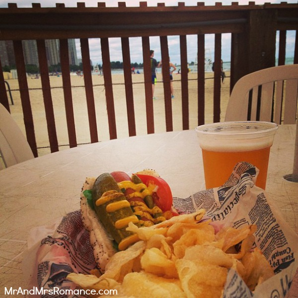 Mr and Mrs Romance - USA - 7b Chicago dog at Oak Street Beach cafe