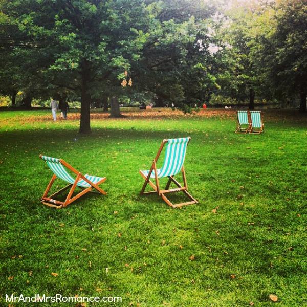 Mr & Mrs Romance - European Romance London - 15 HR4 deck chairs in St James Park