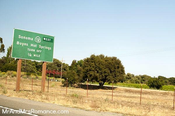 Mr & Mrs Romance - Sonoma - 2 road sign