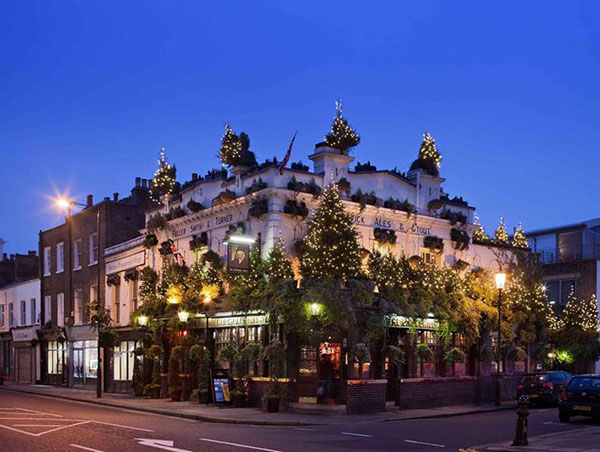 The Churchill Arms pub Kensington London at Christmas time