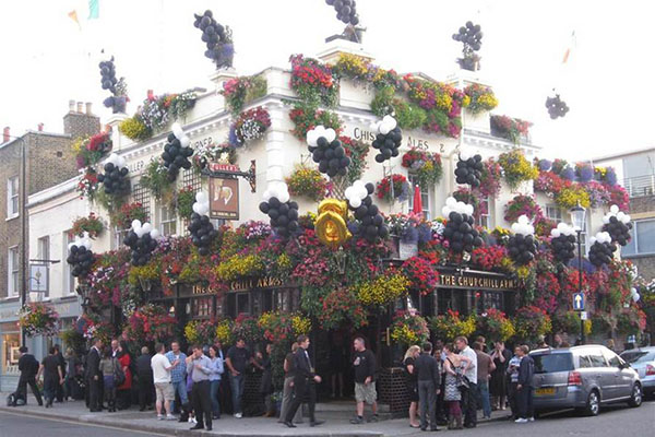 The Churchill Arms pub Kensington London on Guinness Day