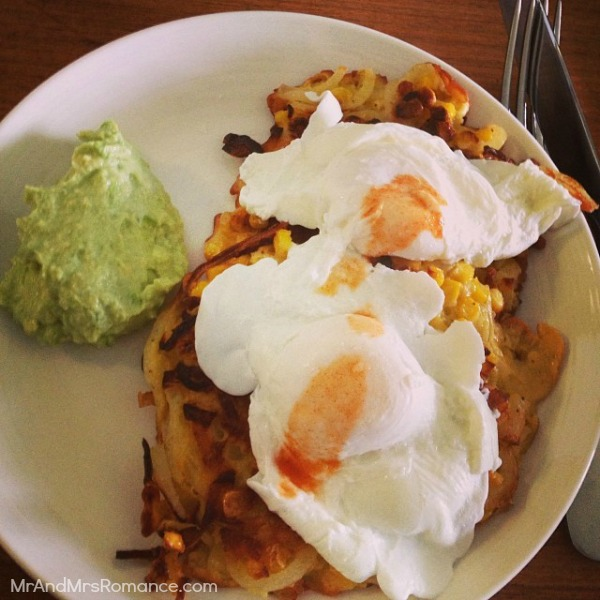 Mr & Mrs Romance - Insta Diary - 9MM6 Corn fritters and egg for brrekky