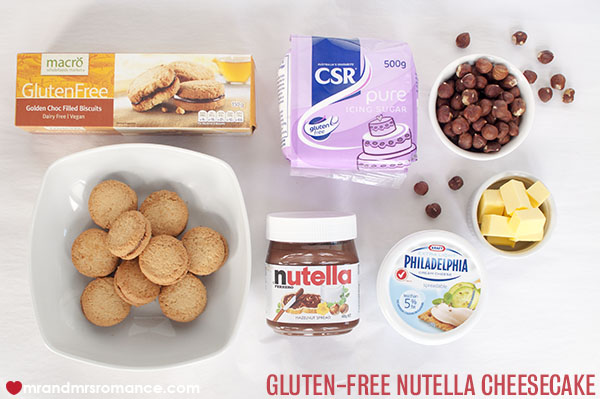 Mr and Mrs Romance - Gluten Free Nutella Cheesecake ingredients