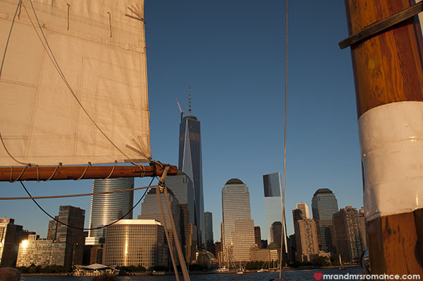 Mr and Mrs Romance - Downtown from the Hudson - NYC sailing
