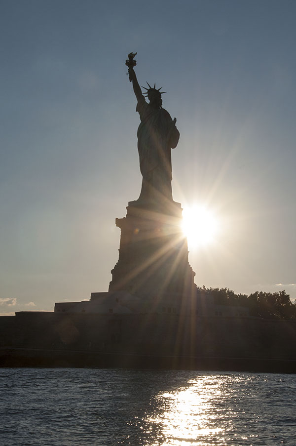 Mr and Mrs Romance - Sunset at the Statue of Liberty - NYC sailing