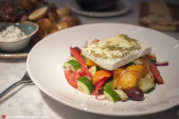 Mr and Mrs Romance - Alpha Restaurant greek salad