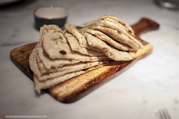 Mr and Mrs Romance - Alpha Restaurant pita bread