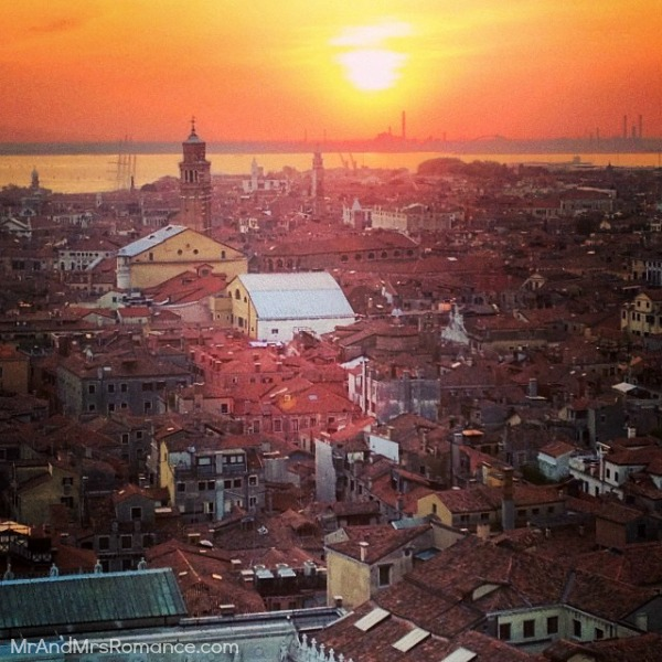 Mr & Mrs Romance - Insta Diary - 6 sunset over Venice for not getting ripped off by Italian taxis post