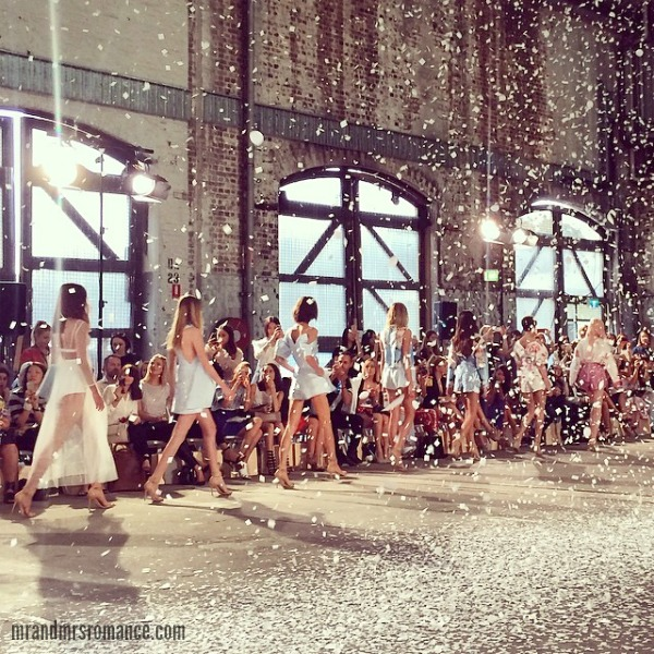 Mr & Mrs Romance - Insta Diary - 6bHR4 Mrs R at Mercedes Benz Fashion Week Aus it snows at the end of Alice McCall