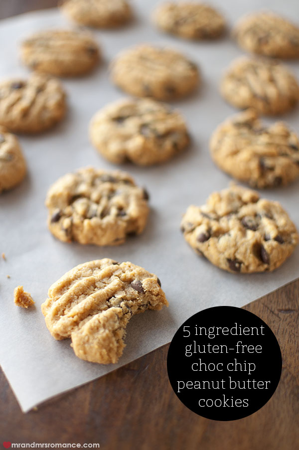 Mr and Mrs Romance - 5 ingredient gluten free peanut butter choc chip cookies recipe