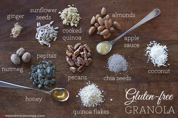 Mr and Mrs Romance - gluten free granola recipe ingredients