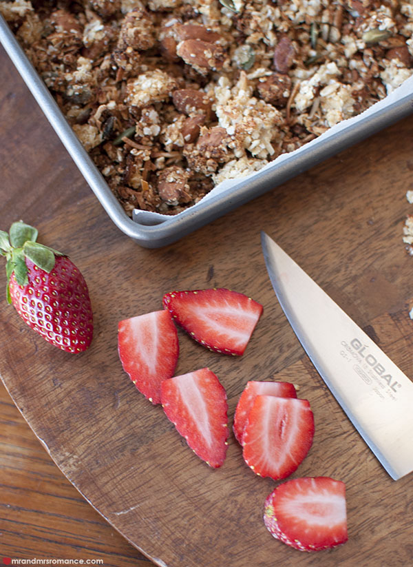 Mr and Mrs Romance - gluten free granola with strawberries