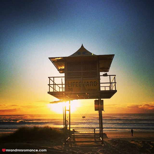 Mr & Mrs Romance - Insta Diary - 9 sunrise over the lifeguard tower