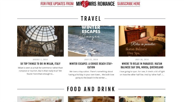 Mr & Mrs Romance - New blog design pic