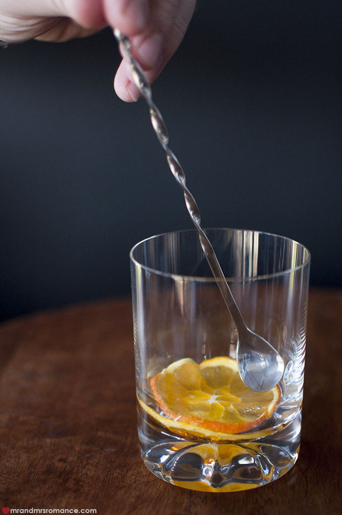Mr and Mrs Romance - Experimental Spirits Co Smoked Bacon Bourbon - making an Old Fashioned cocktails