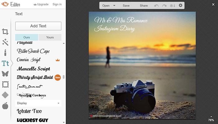 Mr and Mrs Romance - Photo editing apps - PicMonkey