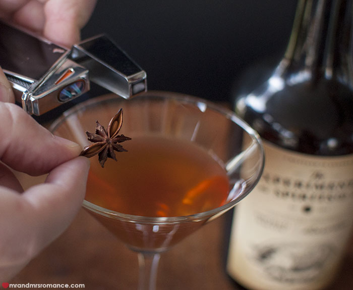 Mr and Mrs Romance - smokey Bacon Manhattan cocktail recipe