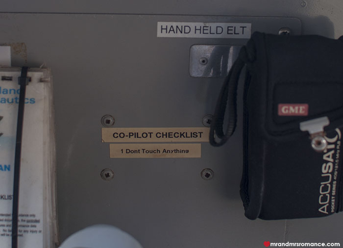 Mr and Mrs Romance - co pilot checklist