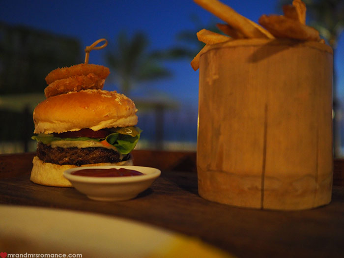 Mr & Mrs Romance - Potato Head Beach, Seminyak, Bali - burger
